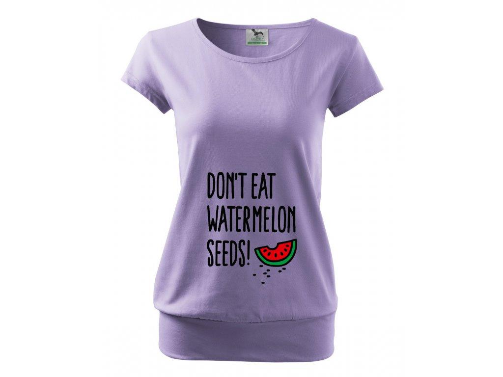 těhotenské fialové tričko nejezte melounová semínka