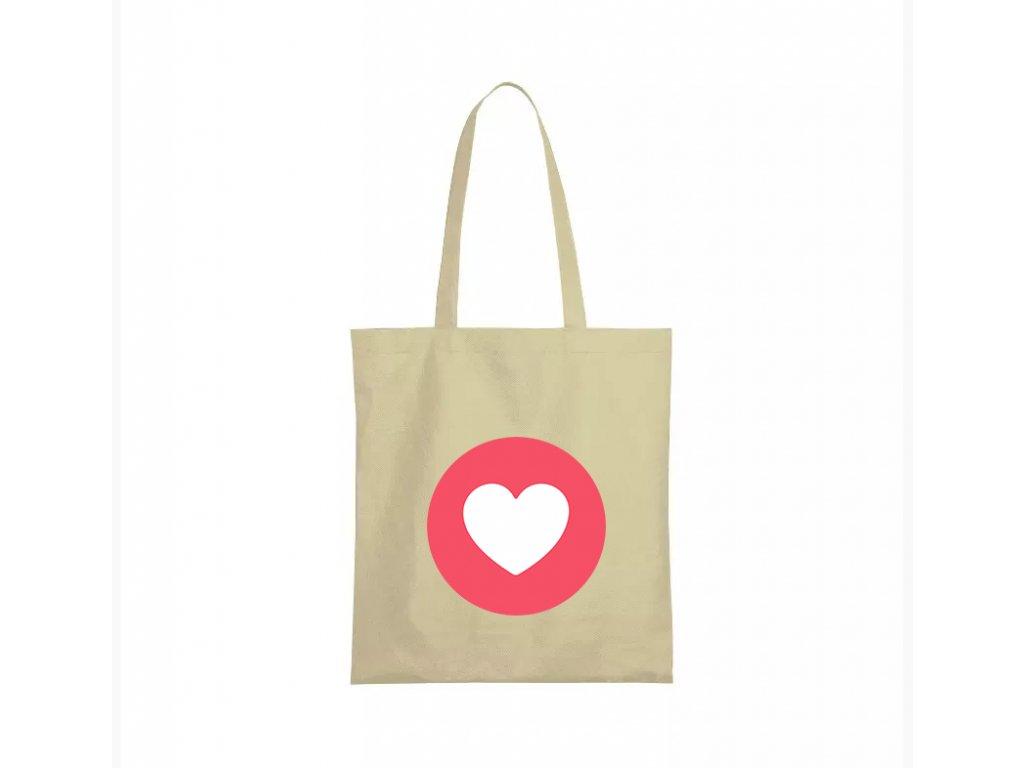 nákupní taška béžová facebook srdíčko