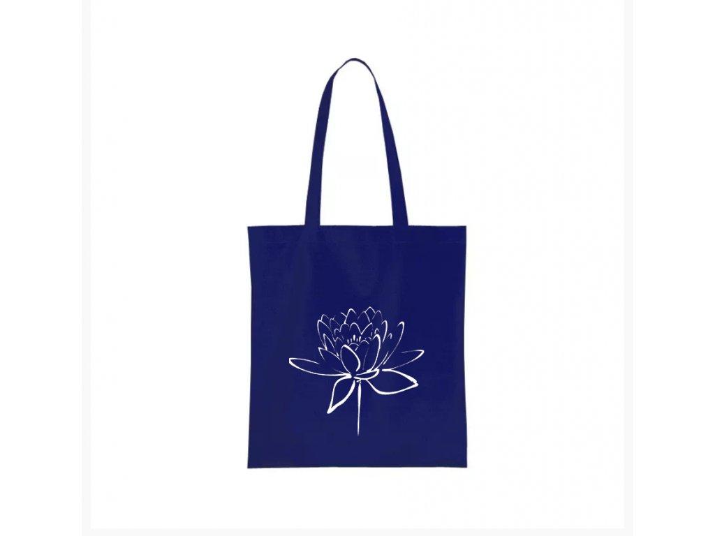 nákupní taška modrá lotosový květ
