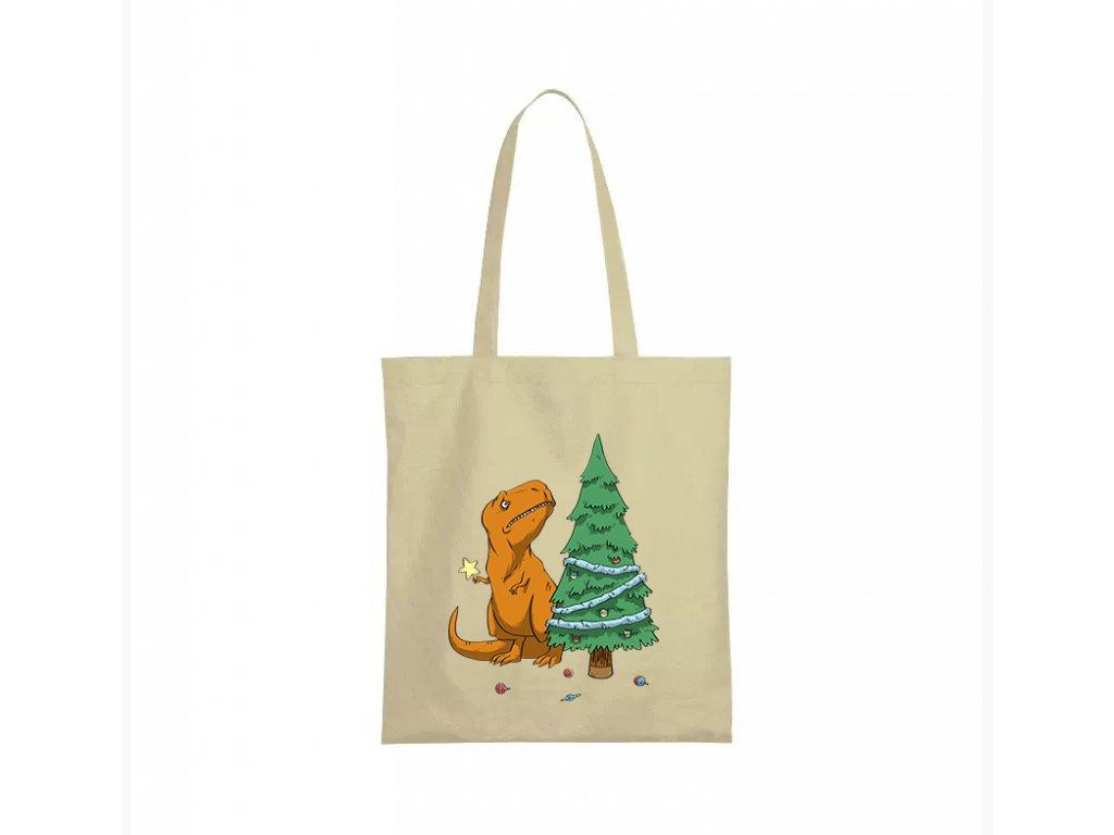 nákupní taška béžová vánoce