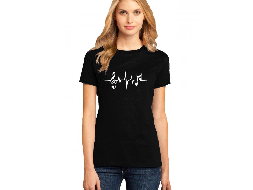 dámské černé tričko MUZIKA