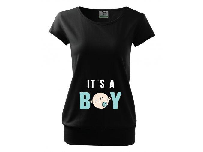 těhotenské černé tričko je to kluk