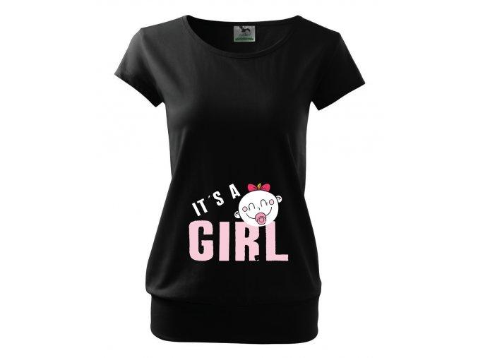 těhotenské černé tričko je to holčička