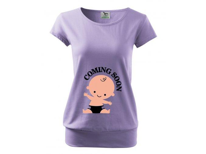 těhotenské fialové tričko miminko dorazí zachvíli