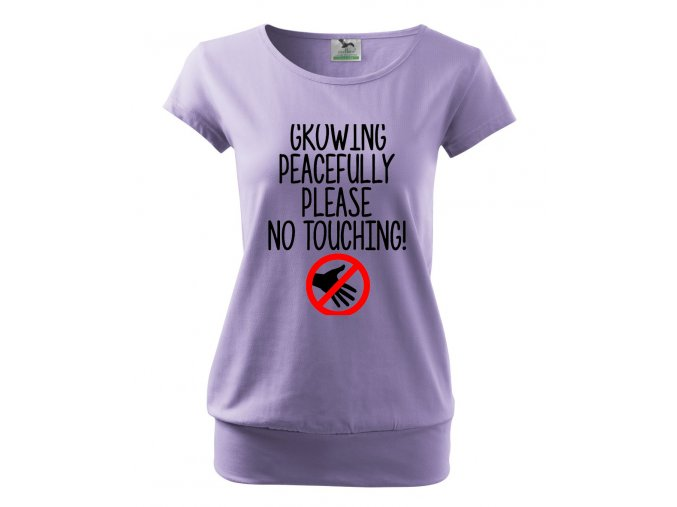 těhotenské tričko miminko mírumilovně rostoucí, nesahat. fialové