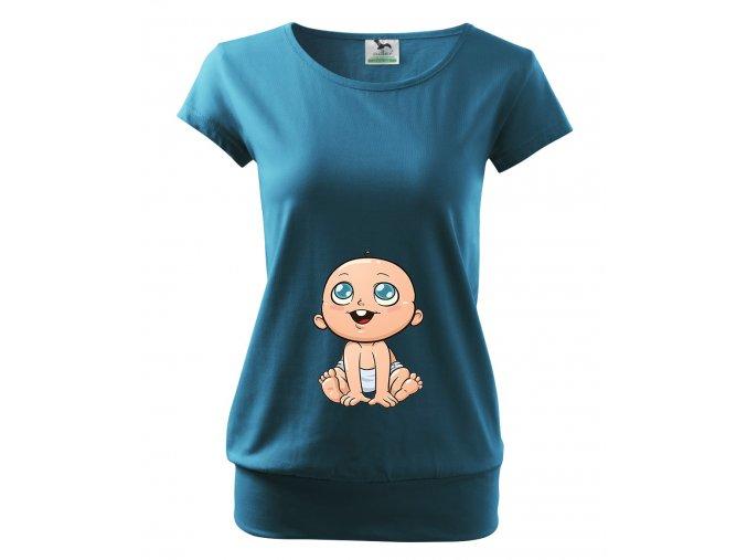 těhotenské tričko Roztomilé miminko modré