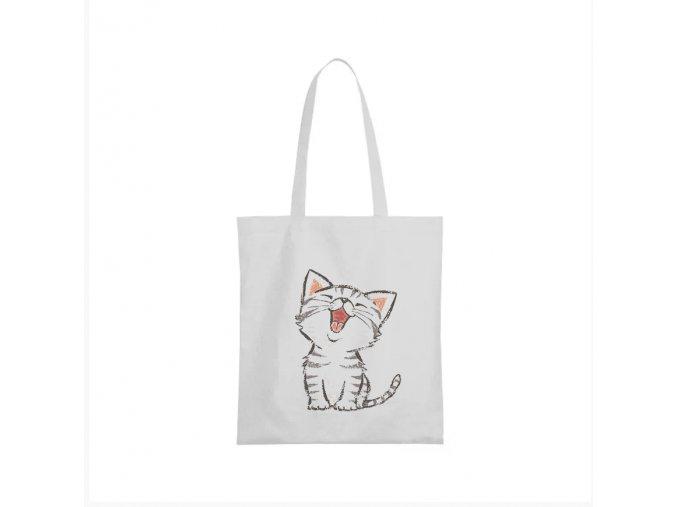 nákupní taška bílá kočička