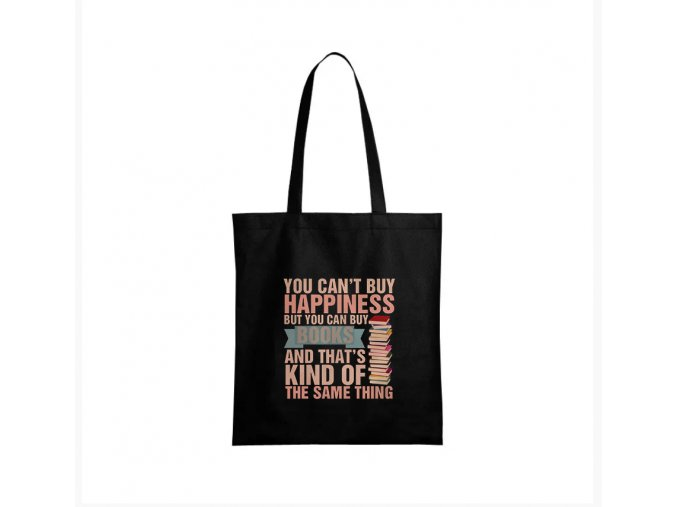 nákupní taška černá nemůžeš si koupit štěstí, ae můžeš si koupit knížky, což je skoro to samé.