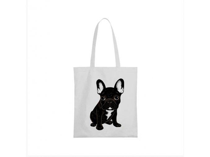 nákupní taška bílá roztomilý Bulldog