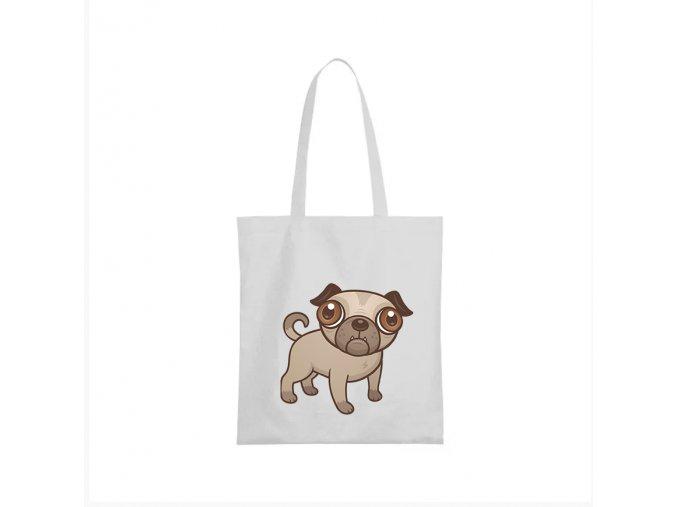 nákupní taška bílá štěnátko