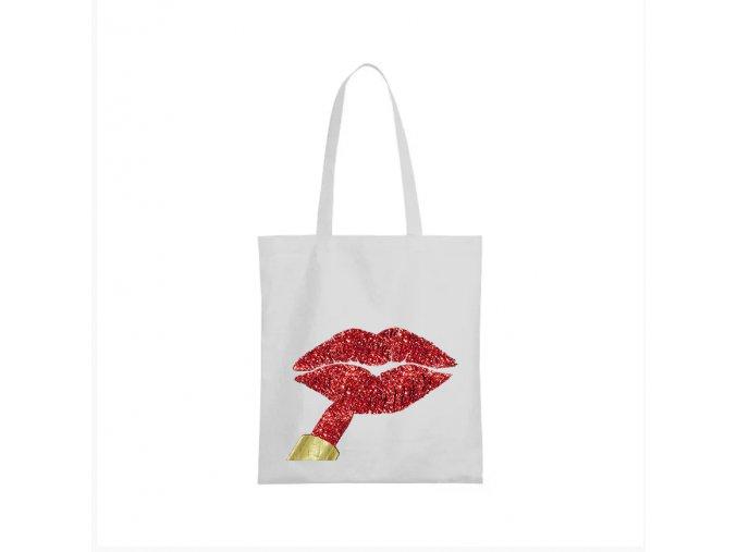 nákupní taška bílá červené rty