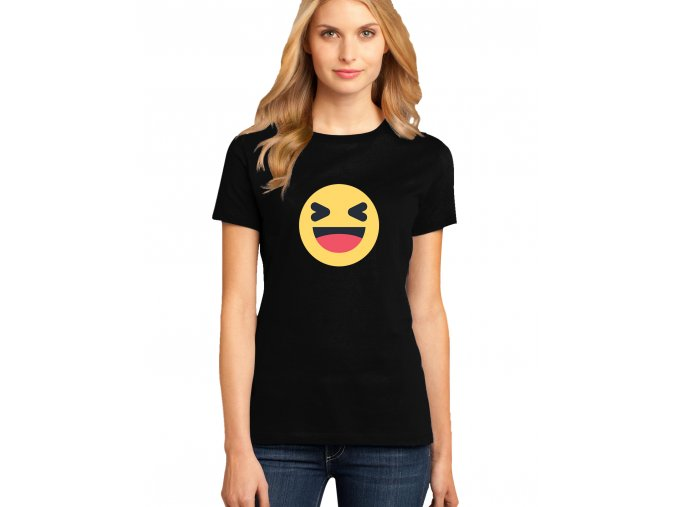dámské černé tričko FACEBOOK SMAJLÍK HAHA