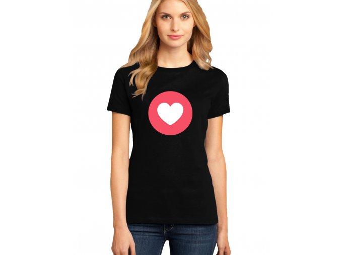 dámské černé tričko FACEBOOK SRDÍČKO