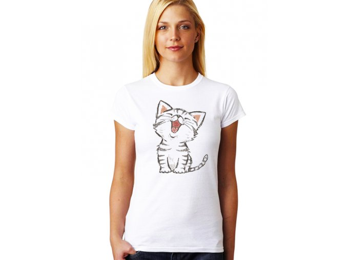 dámské bílé tričko KOČIČKA