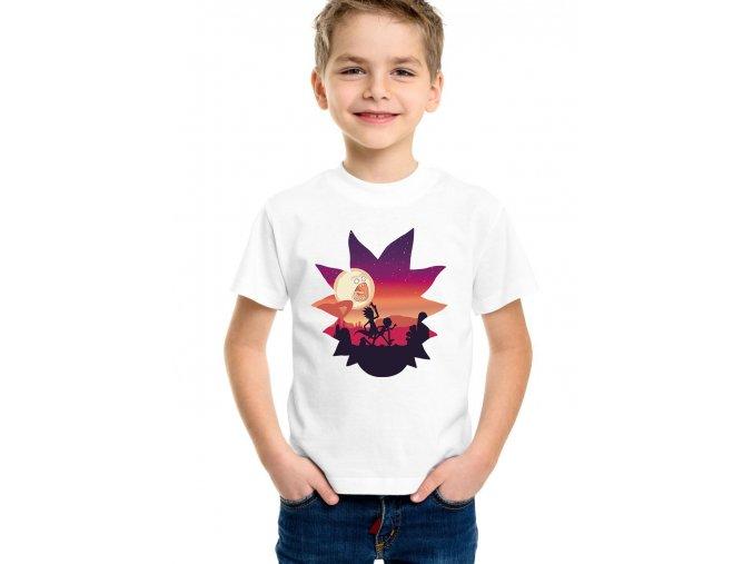 dětské bílé tričko Rick and Morty útěk