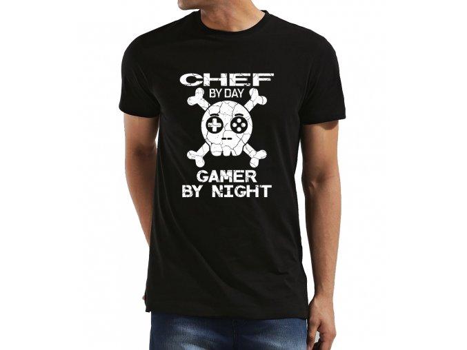 Pánské tričko Kuchař přes den Hráč přes noc