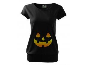 těhotenské černé tričko Halloween dýně