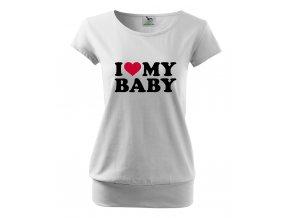 těhotenské bílé tričko miluji mé miminko
