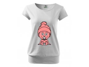 těhotenské bílé tričko miminko sedí, směje se