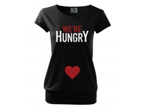 těhotenské černé tričko máme hlad