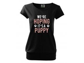 těhotenské černé tričko doufáme že to je štěnátko