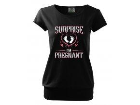 těhotenské černé tričko překvapení jsem těhotná