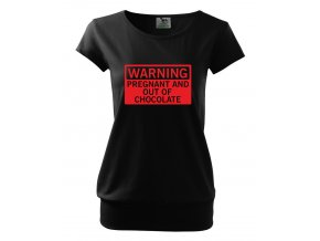 těhotenské černé tričko varování těhotná a došla čokoláda