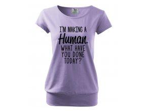 těhotenské tričko Já vyrábím miminko, co jsi dneska dělal ty fialové