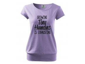 těhotenské tričko vyrůstat malé lidi je vyčerpávající fialové