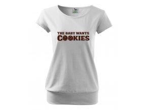 těhotenské tričko miminko chce sušenky