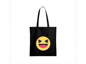 nákupní taška černá facebook smajlík haha
