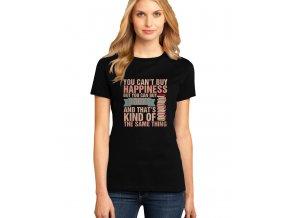 dámské černé tričko NEMŮŽEŠ SI KOUPIT ŠTĚSTÍ, ALE MŮŽEŠ SI KOUPIT KNÍŽKY, COŽ JE SKORO TO SAMÉ.