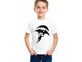 dětské bílé tričko fortnite parašutista