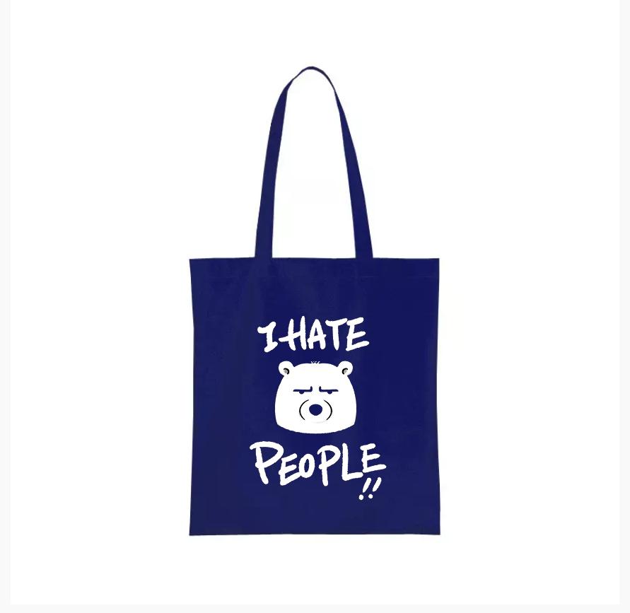 Nákupní taška nesnáším lidi Barva: Modrá