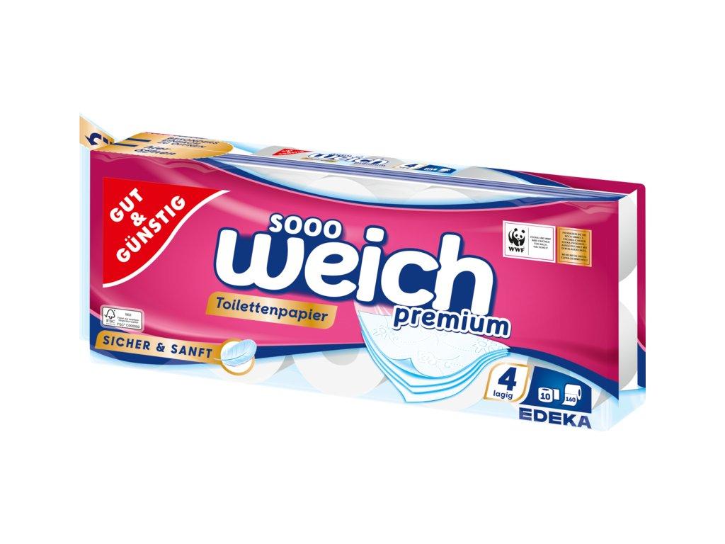 G&G Premium Toaletní papír čtyřvrstvý 10ks á 160 útržků