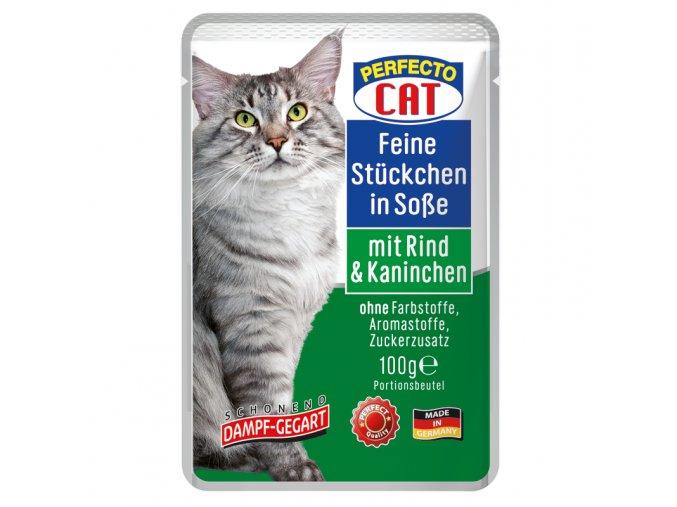 Perfecto Cat Feine Stueckchen in Sosse mit Rind Kaninchen 100g