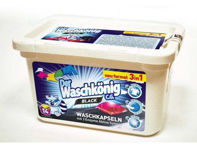Waschkönig Black Superkonzentrat kapsle na praní černého a tmavého prádla 14 ks