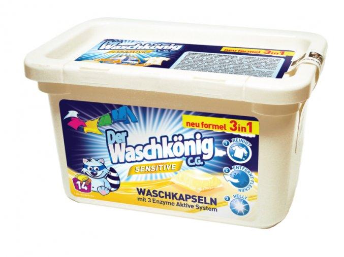 Waschkönig Sensitive Superkonzentrat kapsle na praní stálobarevného prádla vhodné pro citlivou pokožku 14 ks