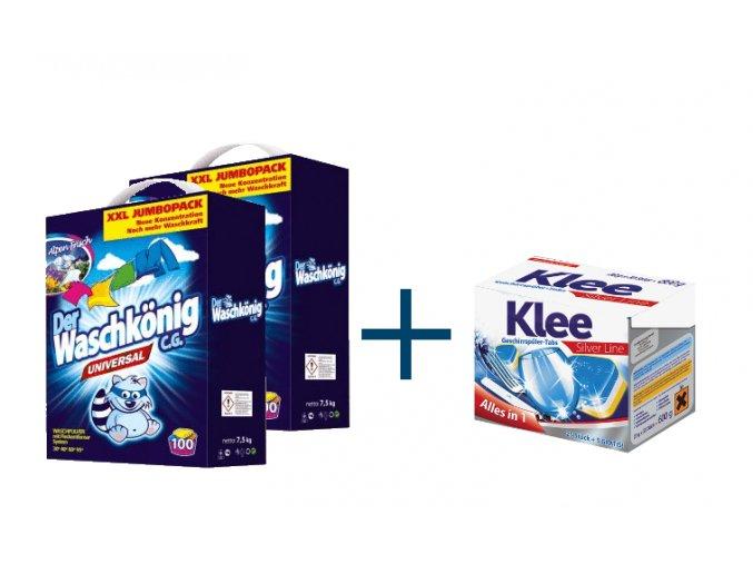 Výhodné balení 2 x Waschkönig Universal prášku na praní XXL 7,5kg + Klee Silverline Tablety do myčky 30ks ZDARMA