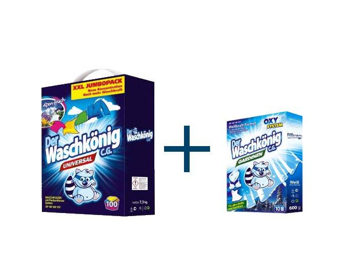 Výhodné balení Waschkönig Universal prášku na praní XXL 7,5kg + Waschkönig Gardinen speciální prací prostředek na záclony ZDARMA