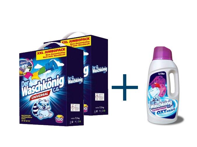 Výhodné balení 2 x Waschkönig Universal prášku na praní XXL 7,5kg + Waschkönig OXY KRAFT COLOR Gel - Odstraňovač skvrn pro barevné prádlo 1,5L ZDARMA
