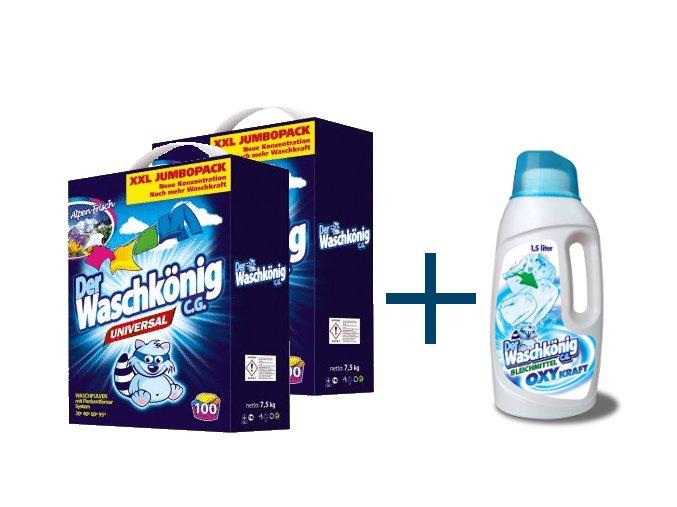 Výhodné balení 2 x Waschkönig Universal prášku na praní XXL 7,5kg + Waschkönig OXY KRAFT WEISS Gel - Odstraňovač skvrn pro bílé prádlo 1,5L ZDARMA