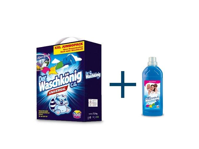 Výhodné balení Waschkönig Universal prášku na praní XXL 100 Pracích cyklů + Waschkönig Aviváž 1l ZDARMA