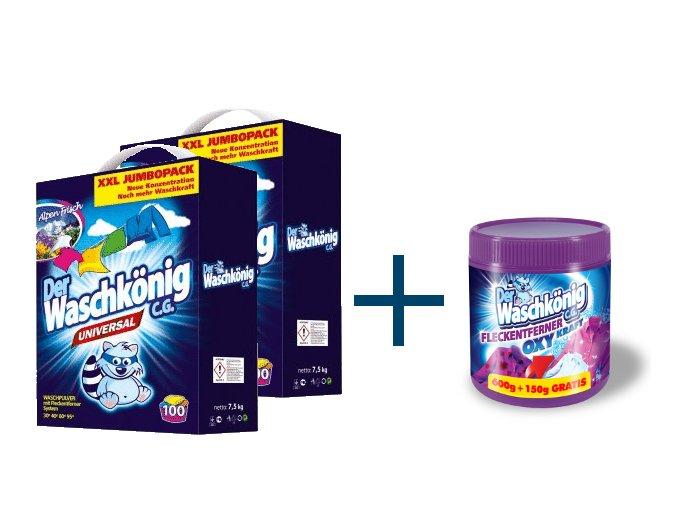 Výhodné balení 2 x Waschkönig Universal prášku na praní XXL 7,5kg + Waschkönig OXY KRAFT COLOR - Odstraňovač skvrn pro barevné prádlo 750g ZDARMA