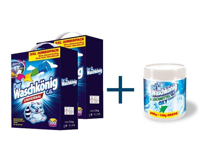 Výhodné balení 2 x Waschkönig Universal prášku na praní 7,5kg + Waschkönig OXY KRAFT WEISS - Odstraňovač skvrn pro bílé prádlo 750g ZDARMA