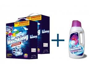 Výhodné balení 2 x Waschkönig Universal prášku na praní XXL 100 Pracích cyklů + Waschkönig OXY KRAFT COLOR Gel - Odstraňovač skvrn pro barevné prádlo 1,5L ZDARMA