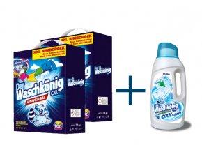 Výhodné balení 2 x Waschkönig Universal prášku na praní XXL 100 Pracích cyklů + Waschkönig OXY KRAFT WEISS Gel - Odstraňovač skvrn pro bílé prádlo 1,5L ZDARMA