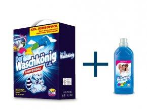 Výhodné balení Waschkönig Universal prášku na praní XXL 7,5kg + Waschkönig Aviváž 1l ZDARMA