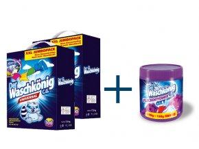 Výhodné balení 2 x Waschkönig Universal prášku na praní XXL 100 Pracích cyklů + Waschkönig OXY KRAFT COLOR - Odstraňovač skvrn pro barevné prádlo 750g ZDARMA