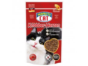 Perfecto Cat Feine Knabber Herzen Anti Hairball Voralpenrind 50g